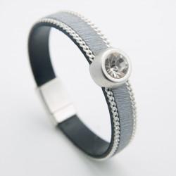 Bracelet cuir poils gris et gros cristal de Swarovski