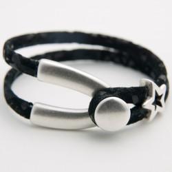 Bracelet cuir daim noir à effet fixé à une fourche en hamac plaqué argent