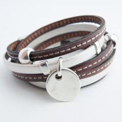 Bracelet cuir double tour lanières cognac couturée et nacrée