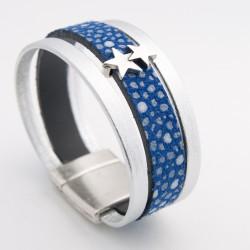 """Bracelet cuir """"Galuchat"""" bleu nuit"""