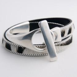 Bracelet cur poils zébrés et demi-jonc