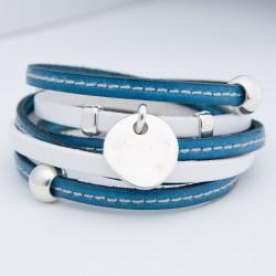 Bracelet cuir double tour lanières bleue couturée et blanc