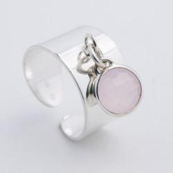 Bague pampille argent cristal sertis couleur rose clair