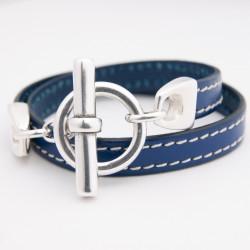 Bracelet cuir double tour bleu marine