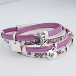 Bracelet cuir imprimé et rose