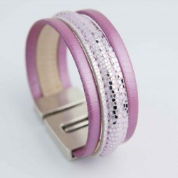 Bracelet cuir lézard rose métallisé et rose nacré