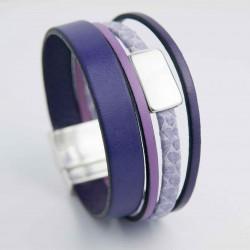 Bracelet cuir violet et serpent ton parme