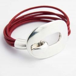 bracelet cuir rouge et fermoir plaque métal argenté