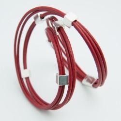Bracelet cuir cordons rouge