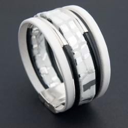 Bracelet cuir blanc métallisé avec cordons noirs