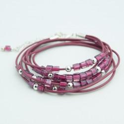 Bracelet cuir double tour perles verre Miyuki rose