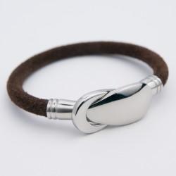 Bracelet cuir daim marron et fermoir acier