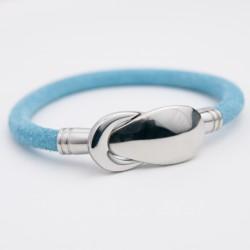 Bracelet cuir daim bleu ciel et fermoir acier