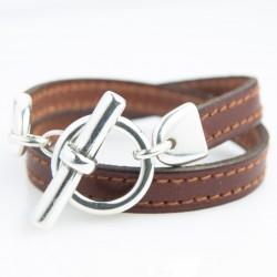 Bracelet cuir double tour marron cognac