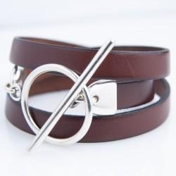 Bracelet cuir triple tour marron cognac
