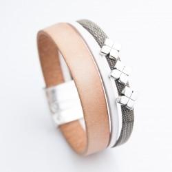 Bracelet cuir naturel et cuir effet tissu