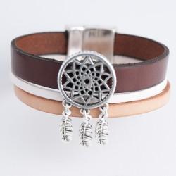 Bracelet cuir naturel et blanc avec attrape rêves