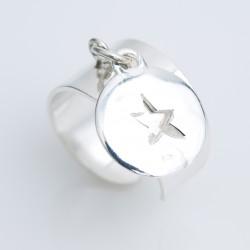 Bague médaille argent 925 avec pampille étoile évidée