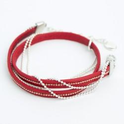 Bracelet cuir double tourrouge et fine chaine or rose