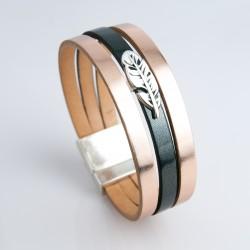Bracelet cuir cuivré rose et vernis noir avec plume