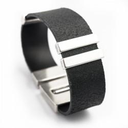 Bracelet homme cuir noir 20mm