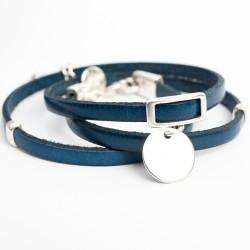 Bracelet cuir triple tour bleu nuit médaille