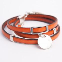 Bracelet cuir triple tour orange médaille