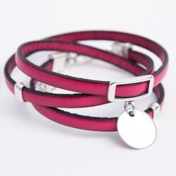 Bracelet cuir triple tour rose fuchsia