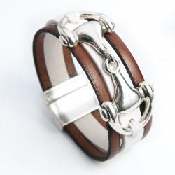 Bracelet cuir blanc et cognac monté d'un mors de cheval