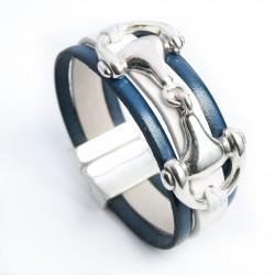 Bracelet cuir blanc et bleu nuit monté d'un mors de cheval