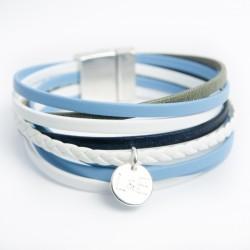 Manchette cuir multi lanières fines dans les tons bleu/blanc