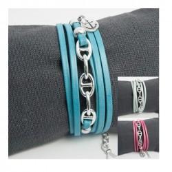 Bracelet cuir bleu pâle triple tour chaine maille marine