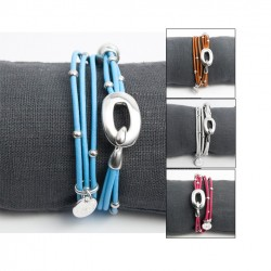 Bracelet cordon cuir fermoir crochet et perles argent