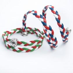 Bracelet cuir double tour 3 couleurs Coupe d'Europe Football
