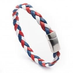Bracelet cuir Bleu Blanc Rouge