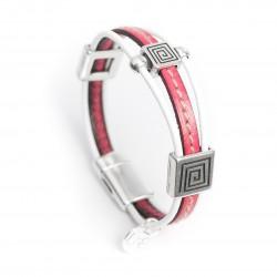Bracelet cuir couturé fuchsia style ethnique