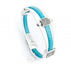 Bracelet cuir couturé bleu turquoise style ethnique