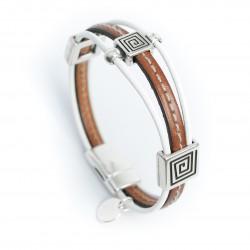 Bracelet cuir couturé marron cognac style ethnique