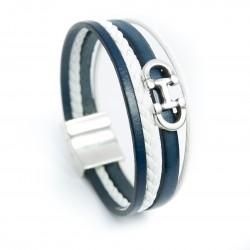Bracelet cuir bleu nuit/blanc avec mors de cheval