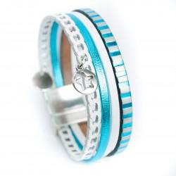 Bracelet cuir blanc rayé turquoise métallisé avec étoile