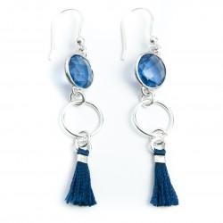 Boucles d'oreille argent cristal sertis et pompon soir bleu nuit