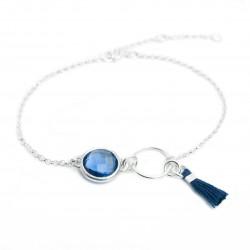 Bracelet argent massif cristal serti et pompon soie bleu nuit