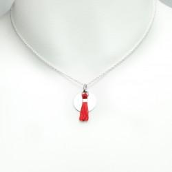 Collier médaille argent massif pompon soie rouge