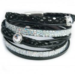 Bracelet cuir double tour noir glitter et cristal Swarovski