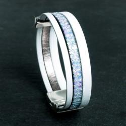 Bracelet cuir blanc avec glitter reflets irisés