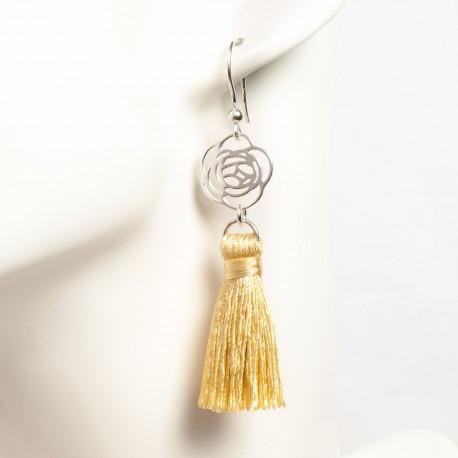 Boucle d'oreille pompon or et fleur filigrane argent massif