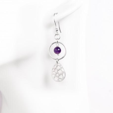 Boucles d'oreille goute argent massif et perle agathe ou turquoise