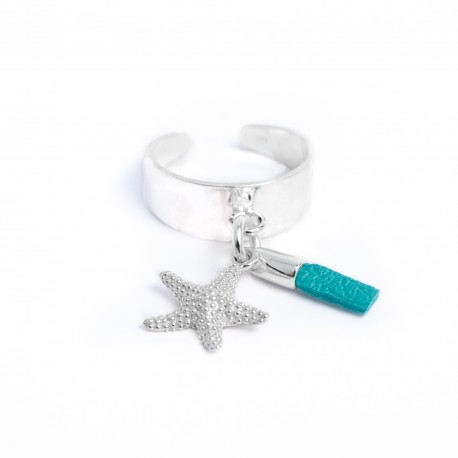 Bague pampille étoile de mer brin de cuir turquoise