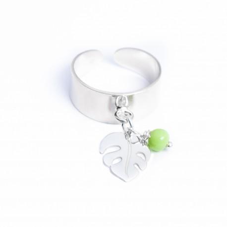 Bague argent Philodendron et perle couleur au choix