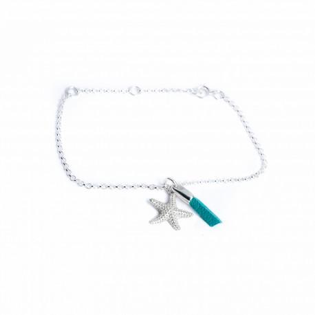 Bracelet argent massif étoile de mer brin cuir turquoise